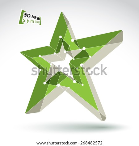 3d mesh green star sign isolated on white background, colorful elegant lattice superstar icon, dimensional tech pentagonal object with white connected lines, bright clear eps 8 vector illustration - stock vector