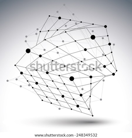 3D mesh modern design abstract object with wireframe structure isolated on white background. - stock vector