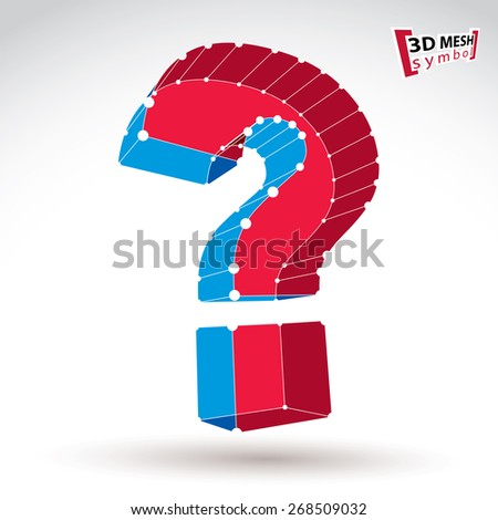 3d mesh stylish red and blue web question mark sign isolated on white background, colorful elegant carcass query icon, bright clear eps 8 vector illustration.
