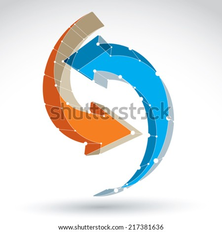 3d mesh stylish web update sign isolated on white background, colorful net repeat icon, dimensional tech refresh symbol with white connected lines, bright clear eps 8 vector illustration. - stock vector
