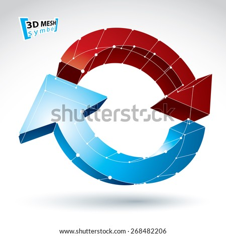 3d mesh update sign isolated on white background, lattice colorful reuse icon, dimensional tech refresh symbol, clear eps 8 vector illustration. - stock vector