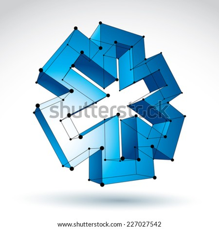 3d mesh web blue ambulance icon isolated on white background, colorful lattice medicine symbol, dimensional tech emergency object with black thin lines, clear eps 8 vector illustration. - stock vector