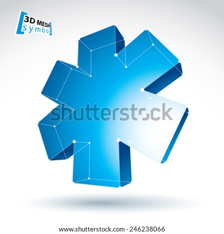 3d mesh web blue ambulance icon isolated on white background, colorful lattice medicine symbol, emergency object, clear eps 8 vector illustration, bright perspective medical cross icon. - stock vector