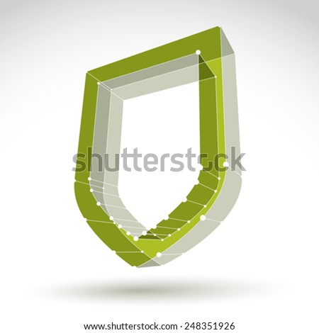 3d mesh web green security icon isolated on white background, colorful lattice ecology shield symbol, protection object, vector illustration, bright perspective antivirus icon, safe  symbol. - stock vector