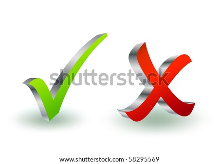 3d metal check and x symbol - stock vector