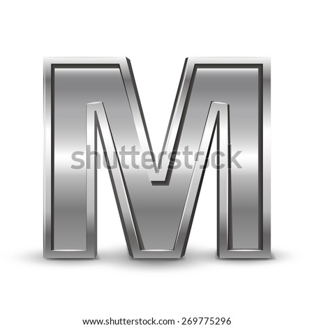 3d metal letter M isolated on white background - stock vector