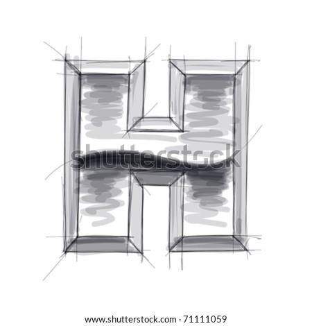 3d metal letters sketch - H. Eps10 - stock vector