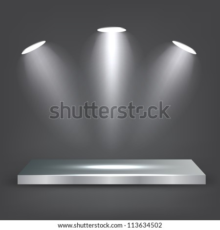 3d Metal Shelf - stock vector