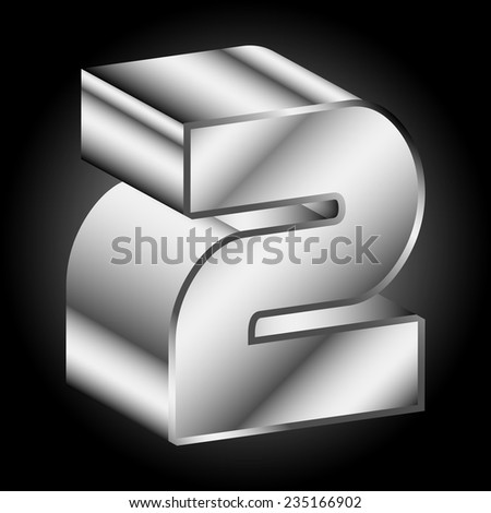 3d Metal silver Two 2 Vector - stock vector