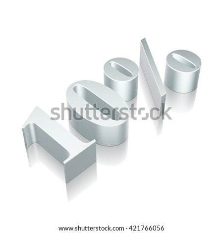 3d metallic character 10% with reflection on White background, EPS 10 vector illustration. - stock vector