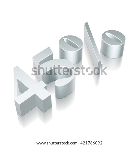 3d metallic character 45% with reflection on White background, EPS 10 vector illustration. - stock vector