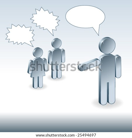 3d metallic children and father discussing - stock vector