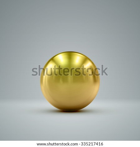 3D metallic sphere with reflections. Vector realistic illustration with golden core - stock vector