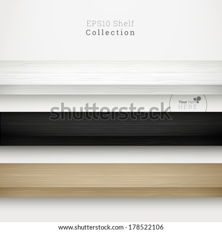 3d minimal empty vector wood shelf collection for online exhibit, web page banner, presentation - white, black and birch color version - stock vector