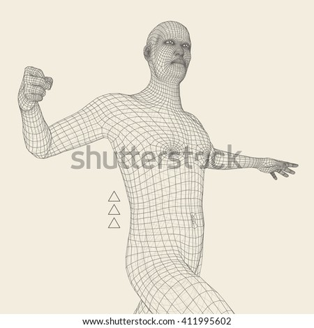 3D Model of Man. Geometric Design. Business, Science and Technology Vector Illustration. Polygonal Covering Skin. Vector Illustration. - stock vector