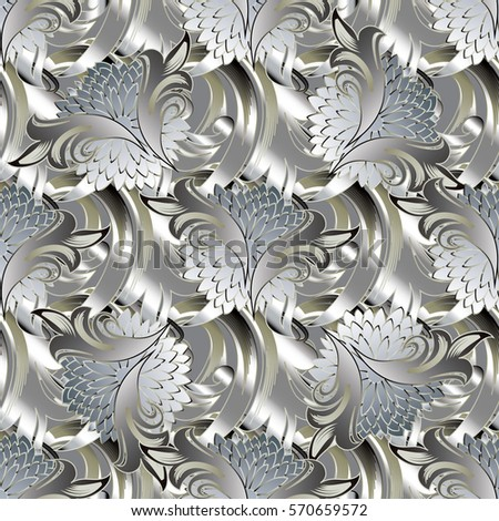 3 d modern seamless pattern stylish abstract stock vector 570659572 3d modern seamless pattern stylish abstract ornate background luxury silver floral wallpaper with elegance mightylinksfo