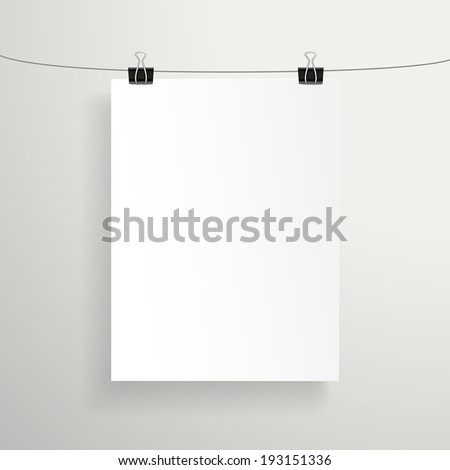 3d modern vector blank paper sheet on white wall