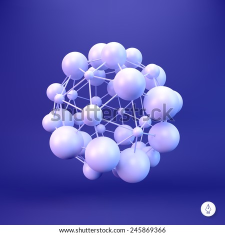 3D Molecule structure background. Graphic design. Vector Illustration. Can be used  for the poster, card, flyer or banner. - stock vector