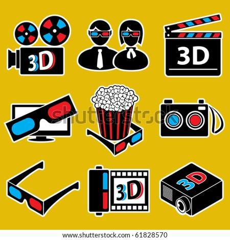 3d movie devices. icon set(vector, CMYK) - stock vector