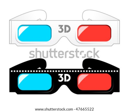 3d movie glasses - stock vector