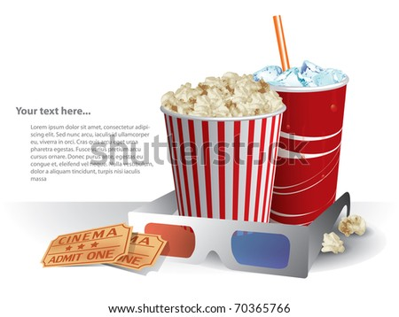 3d movie glasses with popconr and soda - stock vector