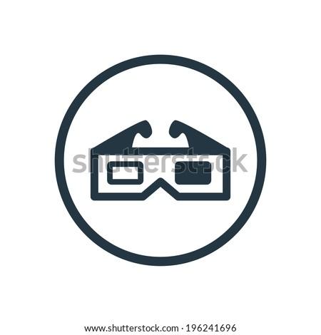 3d movie icon - stock vector