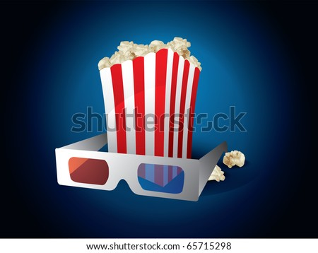 3d movie with popcorn on blue background - stock vector