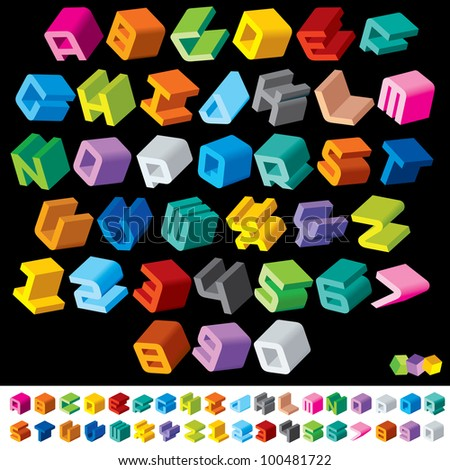 3D Multicolor Isometric Letters and Numbers. Vector Design Font - stock vector