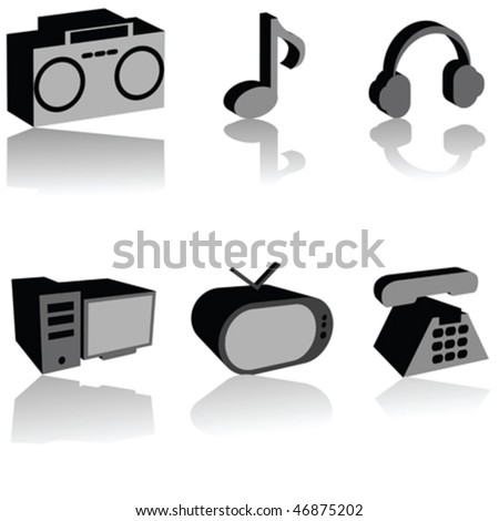 3D multimedia icons set