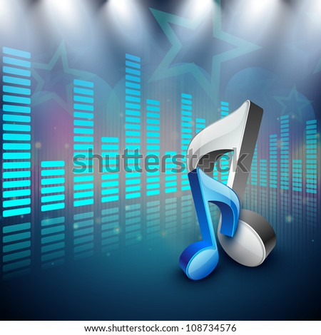 3D music notes on creative colorful music background. EPS 10. - stock vector