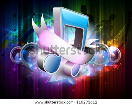 3D music notes with ribbon  on colorful grungy background. EPS 10. - stock vector