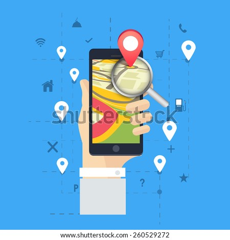 3D navigation pin pointing to a map with magnifying glass on smartphone screen. - stock vector