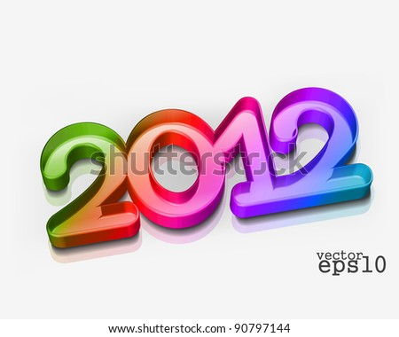 3d new year 2012 design element. Vector illustration - stock vector