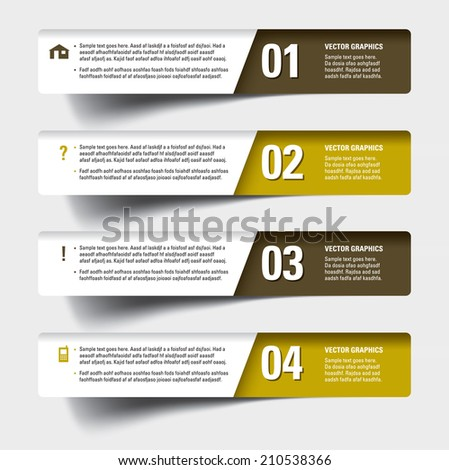 3D Numbered Banners. - stock vector