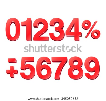 3D Numbers - stock vector