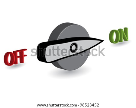 3d on off switch against white background, abstract vector art illustration - stock vector