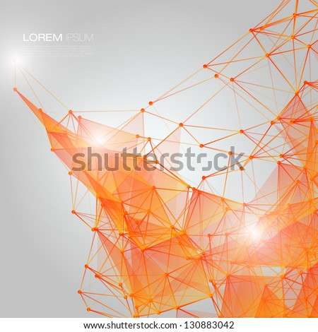 3D Orange Abstract Mesh Background with Circles, Lines and Shapes | EPS10 Design Layout for Your Business - stock vector