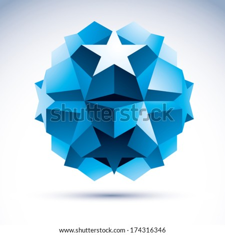 3D origami abstract object, vector abstract design element, clear eps 8. - stock vector