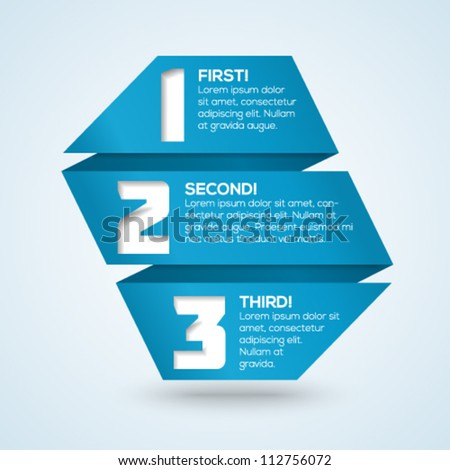 3d origami  progress template with numbers and place for your text. Vector illustration. - stock vector