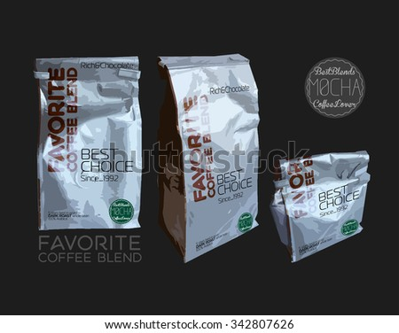 3d pack  with coffee beans, flavorful cooking and selling coffee in vector, mock up with the cafe corporate style, message favorite coffee blend and Coffee mocha hipster logo - stock vector