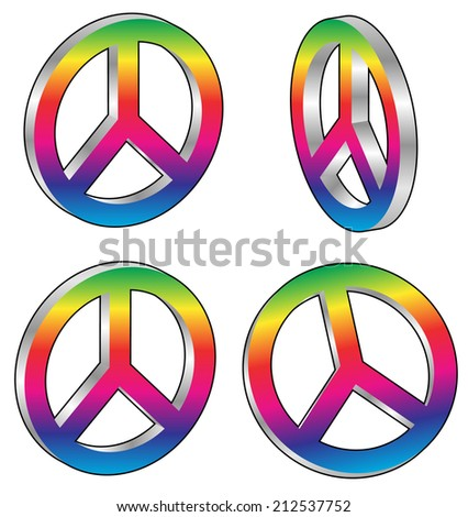 3d peace signs - stock vector