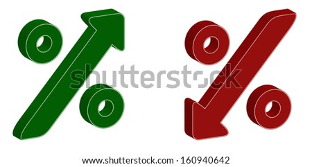3D percentage symbol with up and down arrow - stock vector