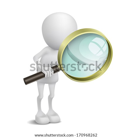3d person is using the magnifying glass - stock vector