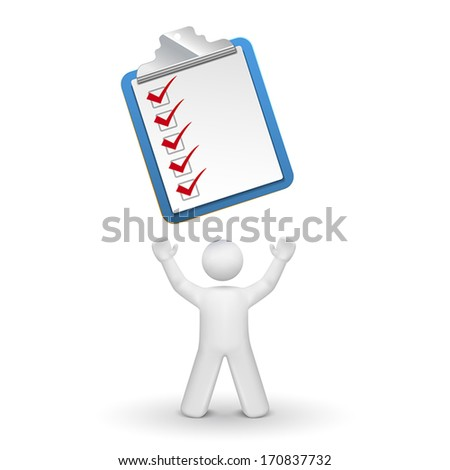 3d person looking up at a clipping note pad and check list isolated white background - stock vector