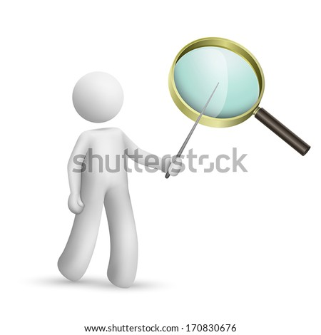3d person pointing at a magnifier isolated white background - stock vector