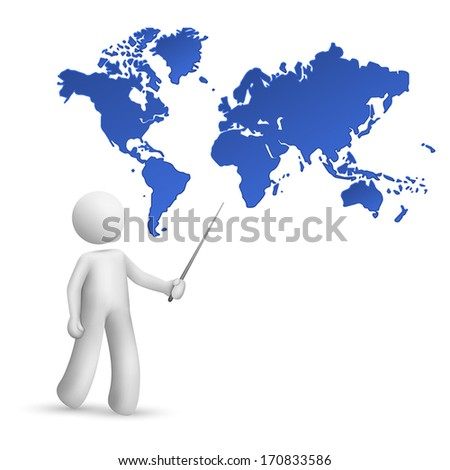 3d person pointing at a map of the world isolated white background - stock vector