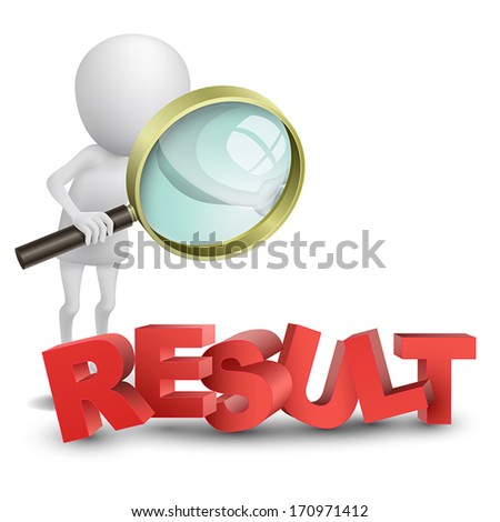 """3d person watching a word """"result"""" with a magnifying glass - stock vector"""