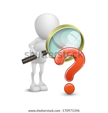 3d person with magnifying glass question mark red search - stock vector