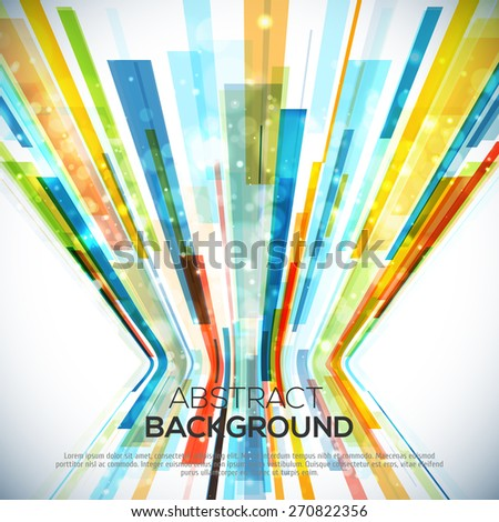 3D Perspective Abstract bright colorful background with lights and lines. - stock vector