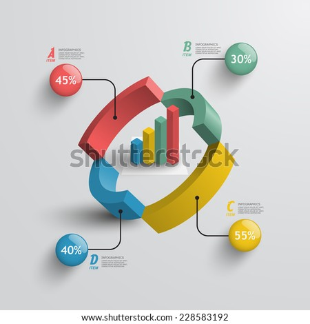 3d pie chart business infographics element - stock vector